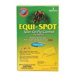 Equispot kills and repels house flies, stable flies, face flies, horn flies, eye gnats, and ticks on horses. Farnam Equispot also aids in the control of horse flies, deer flies, mosquitoes and black flies on horses. 36 applications total.