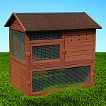 Rugged tongue and groove wood construction with waterproof shingled roof hinged for easy access Rust proof, galvanized wire protects poultry from predator Three removable roosts, lift-out door panels, and attachable access ramp Accomodates up to 4 chicken