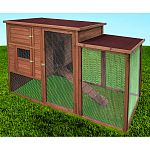 Rugged tongue and groove construction with large front and side door with removable side panel for easy access 2 removable roosts, removable floor panels, access ramp and drop down side panel Handy storage compartment with removable floor for feed or othe