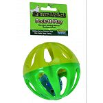 Boredom busting ball for backyard birds Rolling toy that also holds tasty treats - fill with lettuce veggies or treats Encourages healthy activity Durable plastic construction Jingle bell inside adds appeal Dishwasher safe