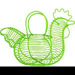 Basket allow you to collect and display eggs with country charm Basket is a rooster shape with wings that fold to form sturdy handle Holds 1 dozen eggs Durable steel construction Dimensions: 11.25 w x 7 d x 8 h