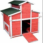 Provides expanded living space and a free range lifestyle Two hinged side roofs and two latched doors for easy entry Six internal nest boxes accommodates up to 12 hens Vented gable roof