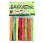 Rainbow chews are colorful fruit scented crunchy chew toy from critters. Wood treats keep teeth trimmed and provide a fun activity that relieves cage boredom. Fits treat-k-bob (ware #03001) Usda approved food colors Enticing fruit scent Safe nontoxic chew