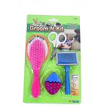 Groom n kit contains the perfect selection of nescessary grooming tools for small pets at an affordable price. Includes: pin brush to reduce shedding, bristle brush to make fur shine, and tasty treat to provide diversion during groom