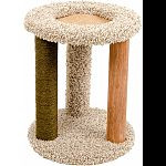 Perfect spot to stretch, play, scratch, and nap Carpeted, fiber, and natural scratch posts Combination of surfaces to please any paws Cozy bed on top with textured surface cats love