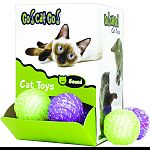 An assortment of green and purple balls with smaller balls inside that move thru a track Sound toy entertains cats with more than just movement, increasing the level of engagement Keeps cats in the zone for hours