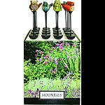 Metal stake with hand painted ceramic topper Sixteen piece set includes 4 owls, 3 each red birds, blue birds, orange birds and frogs Runs up to 8 hours on full charge Rechargeable battery included