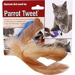 Intrigues your cat with real bird sounds and feathers Includes catnip in a refillable pouch Your cat will feel like the of the jungle with parrot tweet electronic bird-sound toy as a playmate Satisfies cats natural urge to stalk prey
