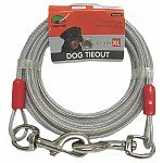 Made of strong, vinyl coated, galvanized aircraft cable. Especially for very large, aggressive dogs. The ideal tieout for all size dogs. For use with trolley, hook or stake. Multiple lengths.