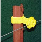 Wire held 1 from post. Solid wire holders take smooth, barbed, and polywire. Fits 1.75 to 2.125 wide posts. Snug insulators for u posts and chain link fence. Molded of high density yellow polyethylene with uv stabilizer for all weather performance. Pac