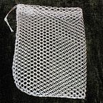 Made with heavy duty nylon netting square mesh. Can hold wild bird suet cakes or home made bird suet. 8 x 6 inch bag.