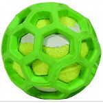 An ingenious, patented honeycomb, web design plus natural, tough rubber with a tennis ball tucked inside. A bouncy, fun fetch ball. Chewy and squishy and, well, unending hours of fun, fun, fun.