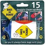 Bags on Board is a compact, refillable dispenser which houses a roll of bio-degradable doggie clean-up bags. It attaches to any kind of leash - standard or retractable. With Bags on Board, you'll always have bags with you.