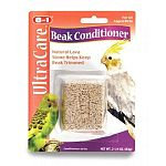Specifically formulated beak conditioner with abrasive lava stone to help keep birds beaks trimmed. Provides interactive pecking entertainment. 2.25 oz