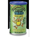 5 oz. catnip enhanced treats are sure to drive your cat kookamunga with cravings! Bite size, star shaped morsels are packed in a resealable canister to keep them crunchy and fresh.