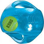 Jumbler tennis ball entices play Handles make pick up, shaking and interacitve play easy Designed for light/moderate chewing Squeaks to keep dogs entertained