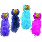 Feather teaser is designed for interactive play Contains cork ball with catnip for added stimulation Bright feathers temp cats to catpure toy Boredom buster