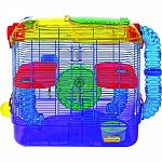 CritterTrail TWO offers two spacious levels of living space for all hamsters, gerbils or mice. CritterTrail TWO comes complete with two Comfort Shelves, a 5oz. water bottle, food dish, exercise wheel and three Fun-nels climbing tubes