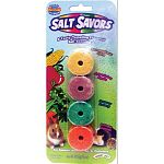Salt Savors Four Pack is a salt chew especially made for small animals by Super Pet. Pack includes carrot, celery, corn and apple flavored salt. Provides your pet with essential nutrients. Ideal for a variety of small animals.