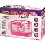 An all pink activity home for small pets. Features a