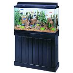 Constructed entirely of solid wood. Each stand and canopy is stained and finished with a waterproofing sealer that will protect them from splashes and water. Fits tank: 30, 38, 45 gallons. Canopies are available with full length doors that allow easy acce