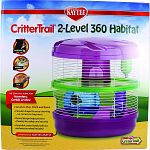A circus of fun for hamsters, gerbils or mice 2 levels to play, climb and roam Circular shape for easy cleaning - no corners to trap mess Round design helps prevent chewing for safety and security Food dish, water bottle, hide out and exercise wheel inclu