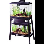 Fits 13 gallon widescreen aquarium on top shelf and up to 10 gallon aquarium on lower shelf Reversible wood panels: brown or black Front panel flips up for easy access to aquarium on lower shelf Easy 7-step setup Durable steel construction Rust-resistant
