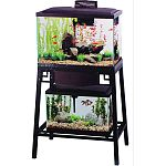 Fits 15, 20 high, or 25 gallon aquarium on the top shelf anda 10 gallon aquarium on lower shelf Reversible wood panels: brown or black Front panel flips up for easy access to aquarium on lower shelf Easy 7-step setup Durable steel construction Rust-resist