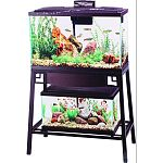 Fits 20 long or 29 gallon aquarium on top shelf and up to 15 gallon aquarium on lower shelf Reversible wood panels: brown or black Front panel flips up for easy access to aquarium on lower shelf Easy 7-step setup Durable steel construction Rust-resistant