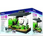 Kit includes size 10 glass aquarium, low profile led hood, water conditioner, submersibile preset heater, premium fish food, Quietflow power filtration, accessories, and set-up/care guide Fish food contains natural, premium ingredients for complete nutrit