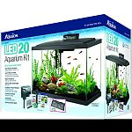Kit includes size 20 glass aquarium, low profile led hood, water conditioner, submersibile preset heater, premium fish food, Quietflow power filtration, accessories, and set-up/care guide Fish food contains natural, premium ingredients for complete nutrit