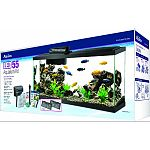Kit includes size 55 glass aquarium, 2-low profile led hoods, water conditioner, submersibile preset heater, premium fish foo Quietflow power filtration, accessories, and set-up/care guide Fish food contains natural, premium ingredients for complete nutri