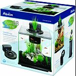 Kit contains: frameless glass aquarium, quiet flow filtration system, decorative plant, plant adapter ring Also, replacement filter cartridge, clear aquarium cover, fish food, water conditioner and setup guide Calming running spring feature has a soothing