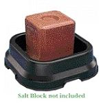 Unique and effective design to hold and protect mineral salt block for maximum durability. Radial ribs support salt block above bottom of pan to allow water to flow easily underneath. Eight large diameter holes handle drainage chores.