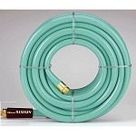 Fine quality garden hose with double tire cord reinforced for strength. Over 500 PSI burst strength. This garden hose is lightweight, flexible, floats and is miildew and abrasion resistant. Heavy gauge, crush resistant brass couplings.