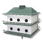 The classic style of the Plastic 12 Room Purple Martin House by Heath is easy to put together with its snap together assembly and is easy to clean. This easy maintenance bird house has two levels with 12 rooms and is sure to keep your purple martins happy