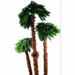 Features 3 lighted palm trees 6 , 5 and 3.5 tall one one bbase Lush realistic look Flame retardant