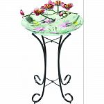 Glass birdbath fountain is a decorative and functional garden spa for all of your garden animal friends. Simple metal legs and stand. Easy to set up and maintain. Completely portable. Actual size: 17.9x17.9x29.7