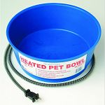 Thermostatically controlled to operate only when necessary. Heavy duty anti-chew cord protector. Economically priced. 1.5 gallon capacity. Measures 11.75 inches in diameter 4 inches deep. 1 year warranty. Keeps water in dogs bowl from freezing during the