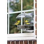 THE WINNER window feeder attaches to the window with a suction cup bar. It goes on or off in a flash. Dimensions: 6 1/2 inch dish, 2 cup capacity. Open construction - clear view of birds on the feeder. Drainage holes - eliminate water from dish.