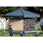 Homestead Triple Bin Party Bird Feeder Large removable, 3-compartment acrylic bin. Hunter Green Hold up to 3 types of seed to attract different species. Birds can easily see the type of seed they desire to eat Holds up to 11 1/2 lbs of seed