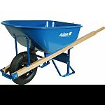 58.75 inch x 25.5 inch x 27 inch, 16 inch tubed tires, 60 inch heavy duty steel handles Patented leg stabilizers make wheelbarrow 40% more tip-resistant Heavy duty steel trays, professional grade steel undercarriages and strong hardwood handles