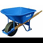 59.25 x 29.5 x 27.25 , tire tube 16 with 60 heavy duty wood handles Patented leg stabilizers make wheelbarrow 40% more tip-resistant Heavy duty steel trays, professional grade steel undercarriages and strong hardwood handles.