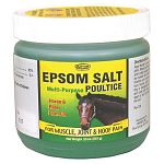 Epsom salt poultice is a topical gel designed for external application for temporary relief of minor pains, bruises and sprains associated with muscle and joint injuries. For use on Horses.