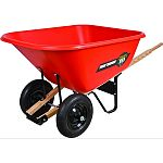 60 x 34.5 x 32 , 10 cubic foot capacity, dual 16 wheels Heavy duty homeowner or contractor wheelbarrow The dual-wheel design makes moving large loads easier The corrosion proof poly tray