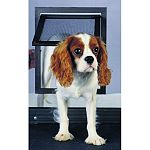 Fits any metal or plastic screen. Slide-lock included. Great for pets up to 30 pounds. Dimensions - 9 1/2 x 11 1/2 . Flap opening dimensions - 7 9/10 x 9 1/4 .