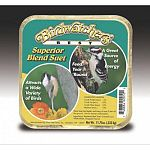 Birdwatchers best superior blend suet. This case contains 12 suet cakes. Consists of rendered beef suet, cracked corn, white millet, chopped peanuts. Attracts a wide variety of birds and is a great source of energy. 11.75 oz. each.