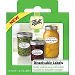 Made to adhere securely on jars during storage and use, and then dissolve easily in water during clean-up. Labels strongly adhere to jars, are easy to write on, and dissolve by hand washing or dishwasher. Box can be used as a dispenser.