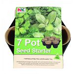 Contains 7 all natural fiber pots with reusable tray. Individual pots encourage root growth and can be planted directly in the ground. Comes with a reusable tray that allows more space between plants to grow before transplanting. Tray features easy pot pu