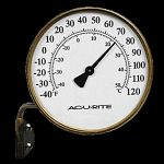 AcuRite Brand high quality swing arm brass thermometer.  Face is white and finished in black.  Mounting bracket and steel case included. 3.5 inch diameter
